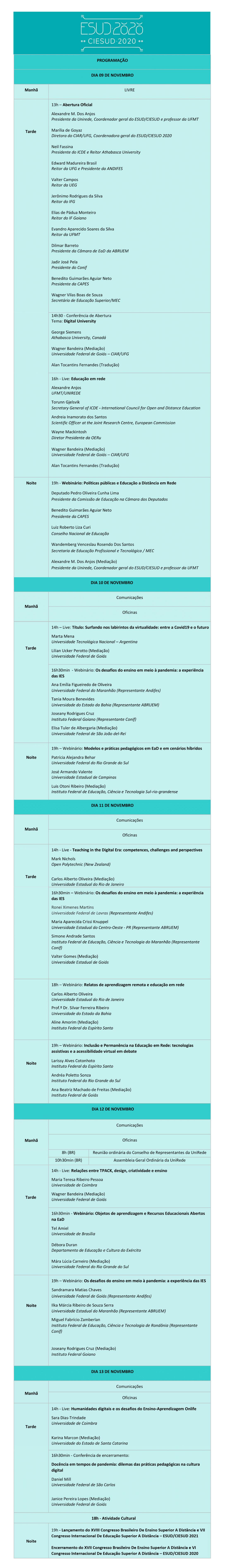 programação do ESUD 2020